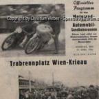 Programmheft Sandbagnrennen Wien 1954