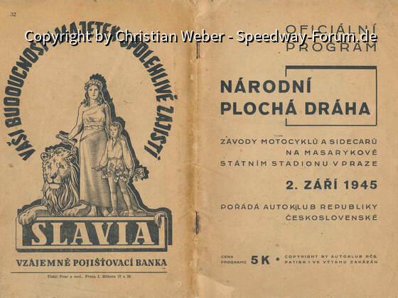 Speedway Programm Prag Masaryk Stadion 2 Sept 1945