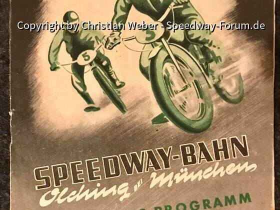 Programmheft des Eröffungsrennens der Speedwaybahn in Olching bei München 1951