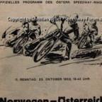 Programmheft Speedway Länderkampf Österreich - Norwegen am 23.10.1953 in Wien-Favoriten