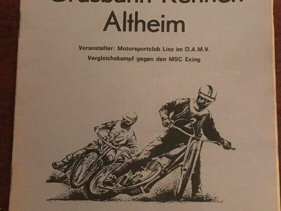 Rennprogramm Grasbahnrennen in Altheim bei Braunau am Inn (Oberösterreich) am 8. Juni 1974