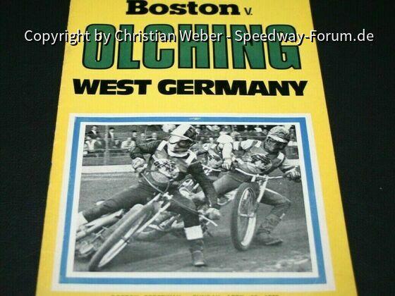 Speedway Programm Boston Barracudas v MSC Olching 30. April 1972