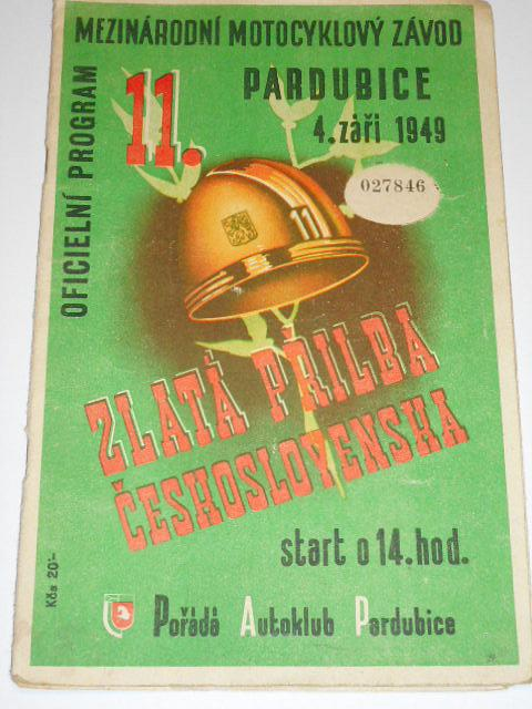Programmheft 11. Goldhelmrennen in Pardubice am 4.9.1949