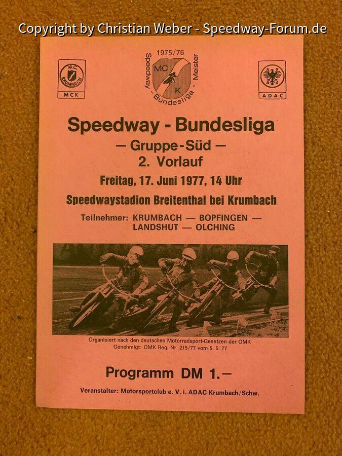 Programmheft Speedway Bundesliga Gruppe Süd am 17.6.1977 in Krumbach