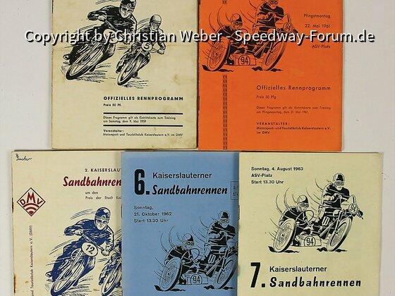 Fünf Rennprogramme von Kaiserslauterer Sandbahnrennen von 1958 bis 1963