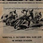 Programmheft Speedway Test Match England gegen Kontinent 1954 in Wien