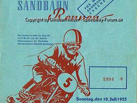 Programmheft vom 3. Meißner Sandbahnrennen am 10. Juli 1955