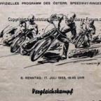 Programmheft Speedway Länderkampf Österreich gegen Dänemark 1953 in Wien